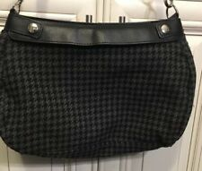 31 Thirty One Gray & Black Check Flannel Medium Handbag Crossbody Purse Satchel
