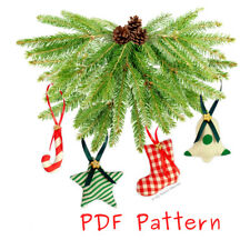 ** EMAIL PDF VERSION ** EASY Sewing PATTERN 6 Stuffed FABRIC Christmas Ornaments