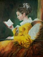"""M.JANE DOYLE SIGNED ORIG.ART OIL/CANV.PAINTING """"A YOUNG GIRL READING""""(PORT.) FR."""