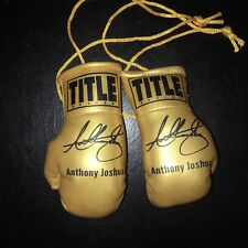 Anthony Joshua AJ Autographed Mini Boxing Gloves Signed GOLD LIMITED EDITION