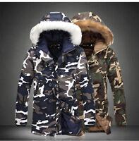 Blouson Veste à capuche Hommes Camouflage Col fourrure Épais Hiver Manteau Parka