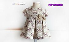 DIGITAL SEWING PATTERN Newborn Baby PLEATED DRESS+BONNET+DIAPER COVER 1-36 month