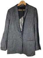 Banana Republic 100% Linen Blazer Jacket 8 Chambray Blue Lined Career Womens #e