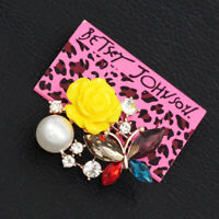 Betsey Johnson Resin Rose Flower Crystal Butterfly Charm Women's Brooch Pin Gift