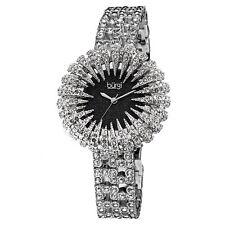 Women's Burgi BUR054BK Glitter Effect Dial Sparkling Crystal Bezel Dress Watch