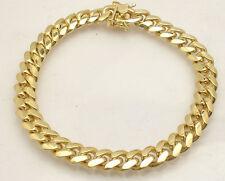 "8.5"" Italian Solid Miami Cuban Bracelet Double Lock 14K Yellow Gold Clad Silver"