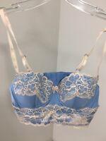 ADORE ME WOMEN'S LACE TRIM UNDERWIRE BALCONETTE BRA BABY BLUE/WHITE 32B NWT