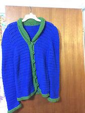 VTG 70s MOD BOHO Blue Green Handmade KNIT Crochet 6 Button SWEATER SZ SM EUC