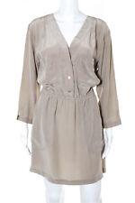 Twelfth Street by Cynthia Vincent Beige Silk Long Sleeve Shirt Dress Size M