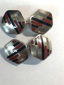 Swank Enamel Red/Black Cufflinks Linked Togethor Deco (CL82)