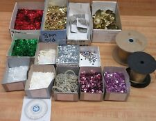 Lot of Assorted Craft Supplies Sequins Ribbon Pins Christmas Ornament Crowns