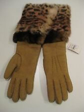 NEIMAN MARCUS ANIMAL PRINT FUR TRIMMED SUEDE GLOVES 100% SHEEP RABBIT CUFF SZ 7