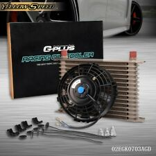 "Universal 15 Row engine Transmission 10AN Oil Cooler + 7"" Electric Fan Kit"