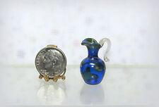 Dollhouse Miniature Transparent Blue Patterned Glass Pitcher, German Hand Blown