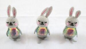 Easter Bunnies 3pk Soft Grey Bunny Decorations  10cm x 6cm x 3.5cm