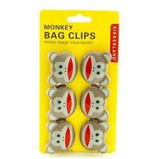 Kikkerland Sock Monkey Bag Clips - Set of 6