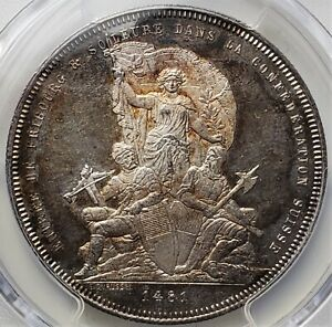 5 Francs 1881 Fribourg Shooting Festival Switzerland  MS62 / PCGS Red Toning !!!