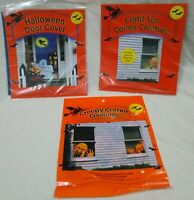 Lot of (3) Halloween/Fall Decor-Door Cover/Light-Up Creature Window Clings
