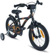 PROMETHEUS Kinderfahrrad 16 Zoll Jungen Schwarz Orange Stützräder ab 5 Jahren