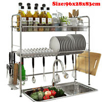 3-Tier Dish Drying Rack Stainless Steel Drainer Kitchen Storage Space Saver NEW