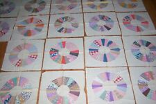 EARLY-DRESDEN PLATE QUILT PIECES-18 CT.-HOMEMADE-MEASURES 18 X 18 INCHES EACH-