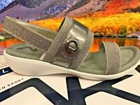 Anne Klein Sport Women's Hida Wedge Slide Sport Sandal PEWTER ~Free Shipping~