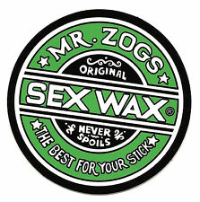 "MR ZOGS SEX WAX Green Sticker Decal 3""x3""...Surf Skateboard Surfing"