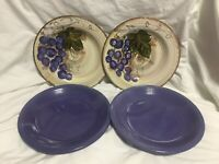 """Tabletop Gsllery """"Vintage Cabernet"""" And Gibson Set Of 4 Hand Painted Plates"""