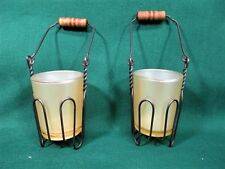 2 FARM BLACK WIRE BASKET VOTIVE / TEA LIGHT CANDLE HOLDERS WITH GLASS INSERT.