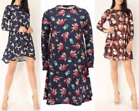 Kids Women's Ladies Swing Dress Black Navy Xmas Santa Snowman Reindeer Robin Top