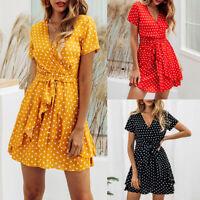 Women Summer Boho Short Sleeve Dress Ruffle Evening Party A-Line Beach Sundress