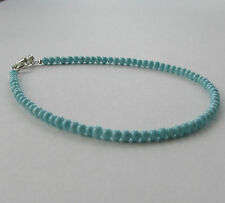 Handmade Pretty Turquoise Blue Glass Bead Beaded Anklet Ankle Chain - Gift