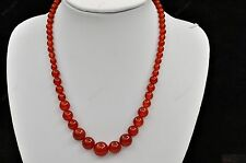 red agate carnelian gemstone beads graduated string necklace
