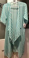 NWT LuLaRoe Shirley S Small Green Striped Cover Up - Kimono -