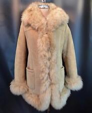 Vintage SHEARLING Sheepskin Suede Coat w/ Plush FUR Trim Boho Chic M