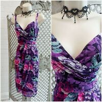 CHANGES @ TOGETHER 💋 UK 12 Bright Purple Floral Wrap Pencil Wiggle Dress Summer