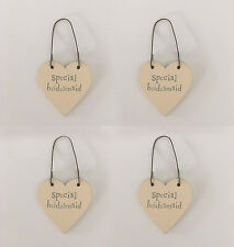 East of India PACK OF 4 Special Bridesmaid Miniature Heart Tags Wedding Gift