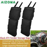 2X Black ATV UTV Fender Storage Bags Large Capacity Saddle Luggage Storage Cargo