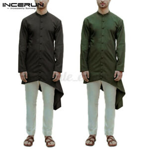 Mens Long Sleeve Ethnic Formal Shirt Kurta Shirts Asymmetric Hem Tunic Long Tops