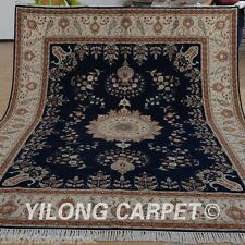Clearance! Yilong 8'x10' Wool Rug Hand knotted Classic Blue Carpet Handmade 1349