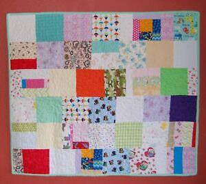 "Handmade Flannel Baby Quilt Boy/Girl Trains Sailboats Flowers Polkadots 33.5X38"""