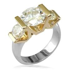 3 Stone Diamond Ring Setting in 14K Yellow and White Gold