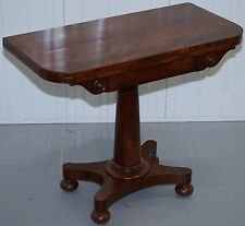 REGENCY ERA CIRCA 1811-1820 FLAMED MAHOGANY CONSOLE TEA GAMES CARD FOLDING TABLE
