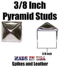 "100 pyramid studs 3/8"" ( 10 mm ) silver/chrome stud spikes spots heavy duty USA"