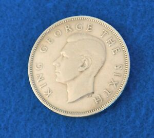 1948 New Zealand 1/2 Crown - Great Key Date Coin - See Pictures