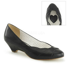 "1 1/2"" Kitten Heel Pumps Black Shoes w/ Scalloped Seashell Design"
