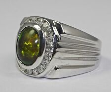 Men's 14k White Gold Oval Green Orange Opal And Round White Diamond Ring Size 8
