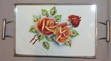 VINTAGE LITHO PORCELAIN SERVING TRAY WITH METAL FACING