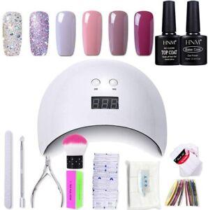 HNM Gel Nail Polish Kit Starter Manicure Set With UV LED Lamp Base Top Coat Tool