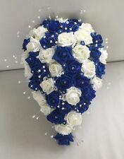 ARTIFICIAL WEDDING FLOWERS IVORY ROYAL BLUE ROSE BRIDE SHOWER TEARDROP BOUQUET